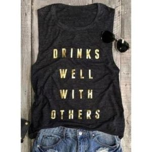 Tops - Drinks Well With Others Tank T Loose Dark Gray Lg
